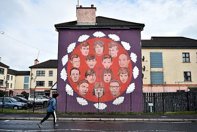 A mural depicting the 14 people who lost their lives on Bloody Sunday in Londonderry, Northern Ireland.