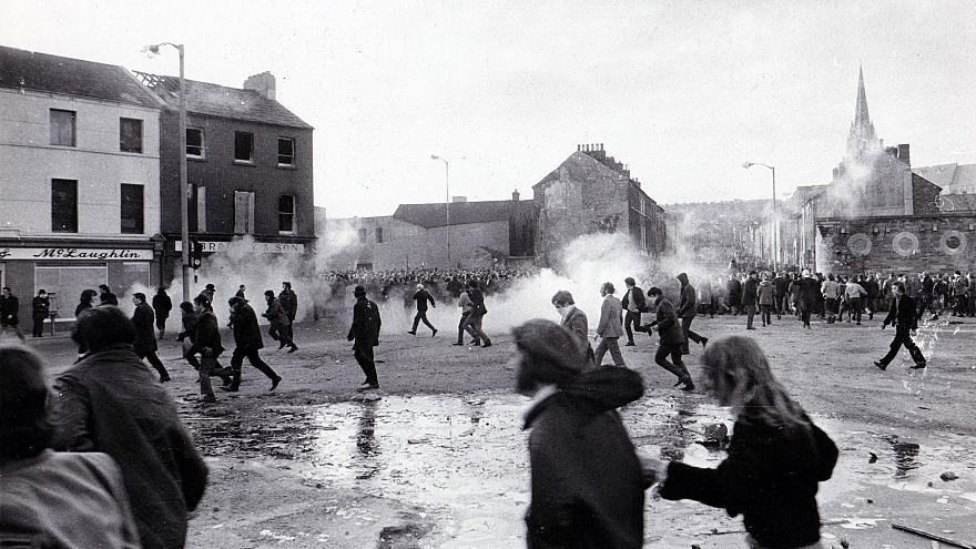 Image: Demonstrators in Londonderry, Northern Ireland, flee on Bloody Sunda