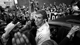 Image: Rep. Beto O'Rourke, D-Texas, pumps his fist before departing a campa