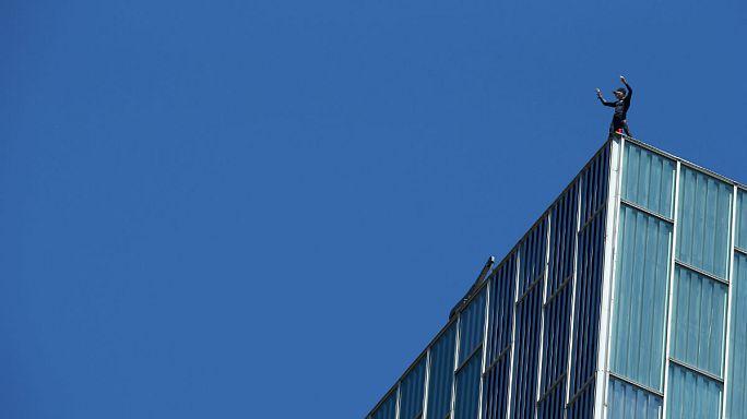 French spiderman Alain Robert climbs Barcelona skyscraper
