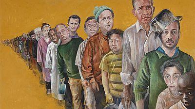 Imaginez les chefs d'Etat en SDF : un peintre syrien l'a fait