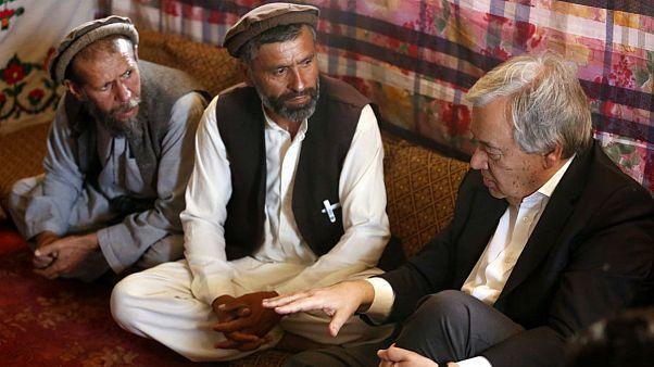 کابل؛ دیدار آنتونیو گوترش با آوارگان جنگ و رئیس جمهوری افغانستان