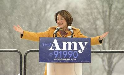 Sen. Amy Klobuchar announces her run for president in Boom Park, Minneapolis, on Feb. 10, 2019.