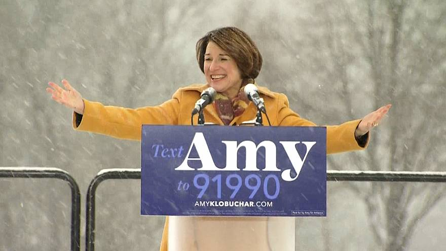Image: Sen. Amy Klobuchar announces her run for president in Boom Park, Min