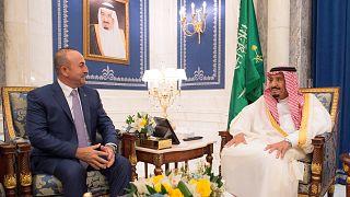 وزير الخارجية التركي يلتقي العاهل السعودي لبحث الازمة القطرية