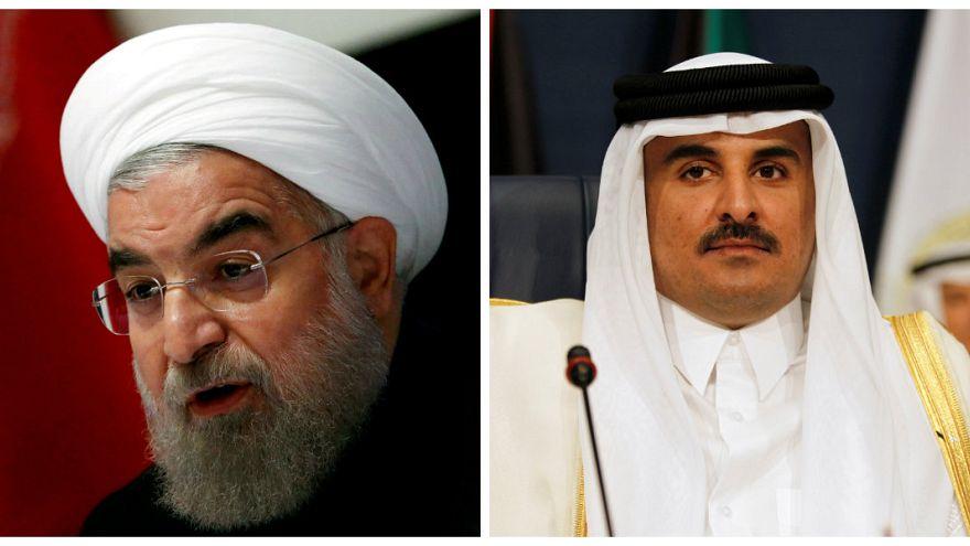 رسالة شفوية من الرئيس الإيراني حسن روحاني إلى أمير قطر الشيخ تميم بن حمد آل ثاني