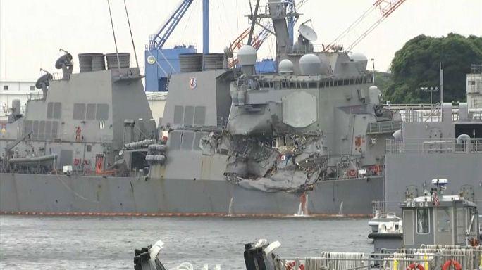 Hallados los cuerpos de los 7 marinos muertos en el choque de un destructor de EE.UU.