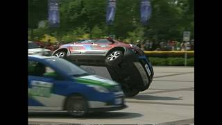 WATCH: Electric cars perform crazy stunts around Chinese lake