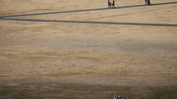 Image: Visitors to Greenwich Park walk on the footpaths in between the dry