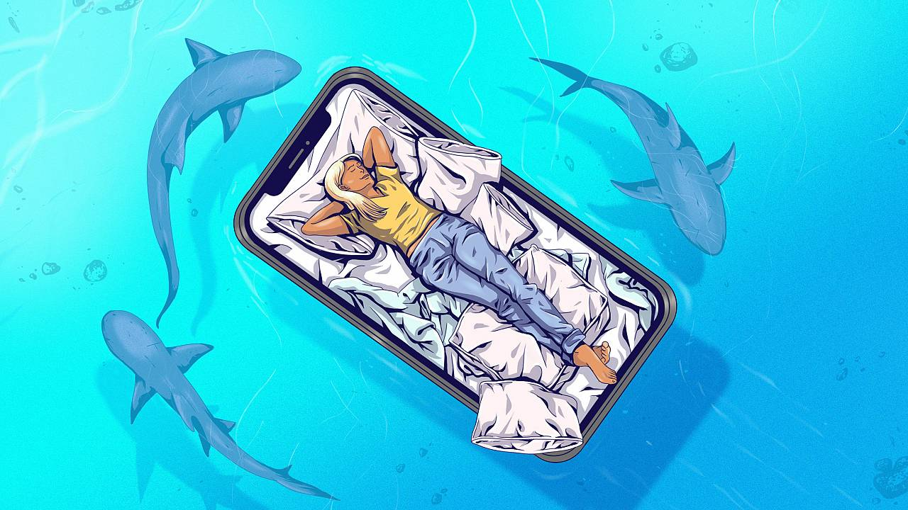 Illustration of a sleeping woman on floating phone bed while sharks lurk be