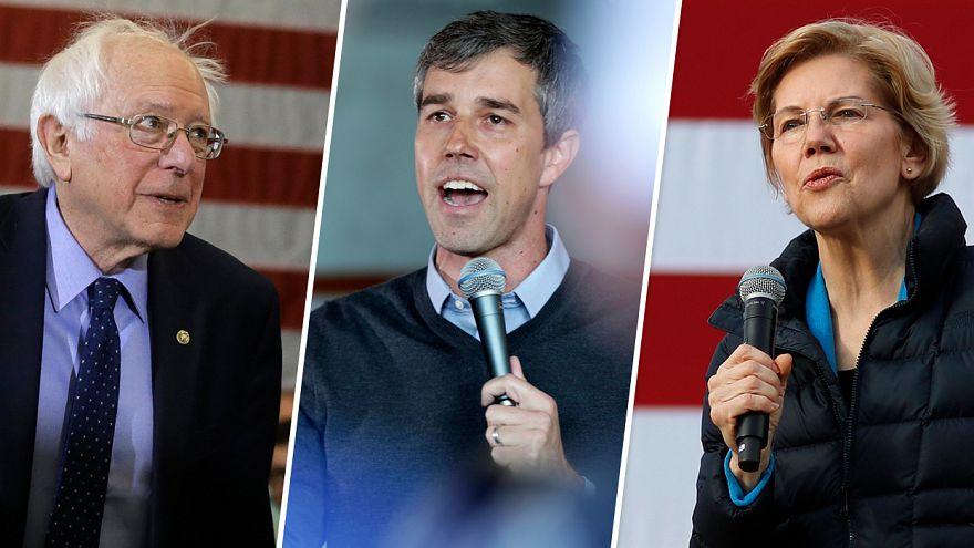 Image: Sen. Bernie Sanders, Beto O'Rourke and Sen. Elizabeth Warren.