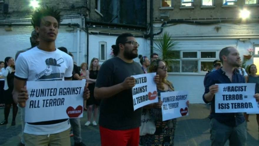 London mosque attack: vigil held for victims