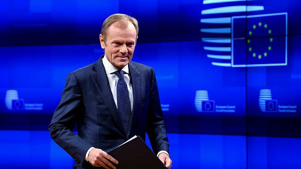 Image: Donald Tusk, President of the European Council, delivers a statement