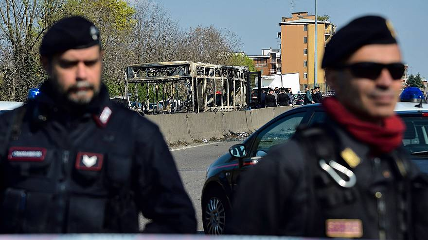 Image: Italian Carabinieri policemen stand by by the wreckage of a school b