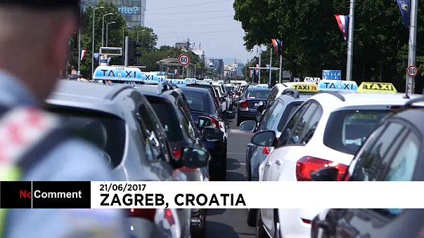 Az Uber ellen tüntettek taxisok Zágrábban