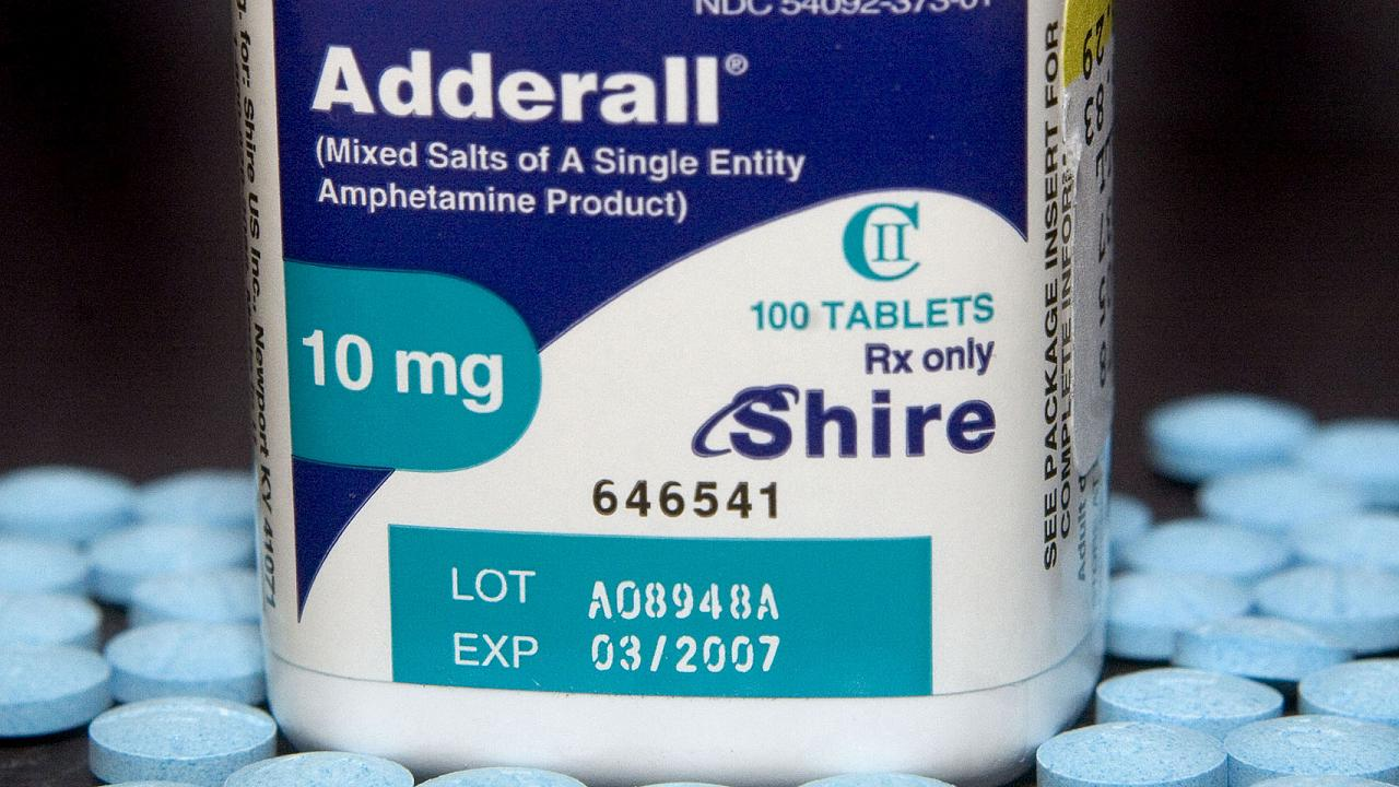 Ten milligram tablets of the hyperactivity drug, Adderall, m