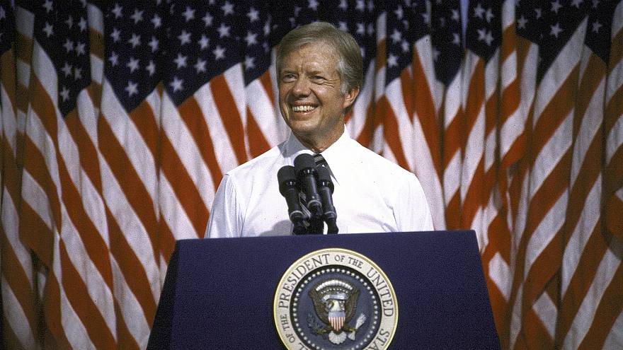 Image: President Jimmy Carter speaks at Merced College in 1980.