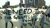 """Londres : ils réclament """"justice"""" pour les morts de la tour Grenfell"""