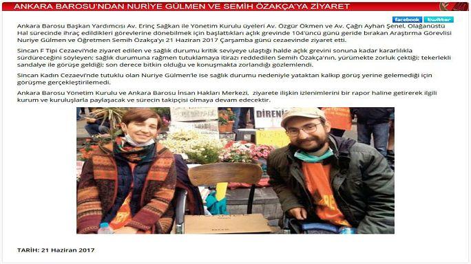 Ankara Barosu temsilcileri Nuriye Gülmen ve Semih Özakça'yı ziyaret etti