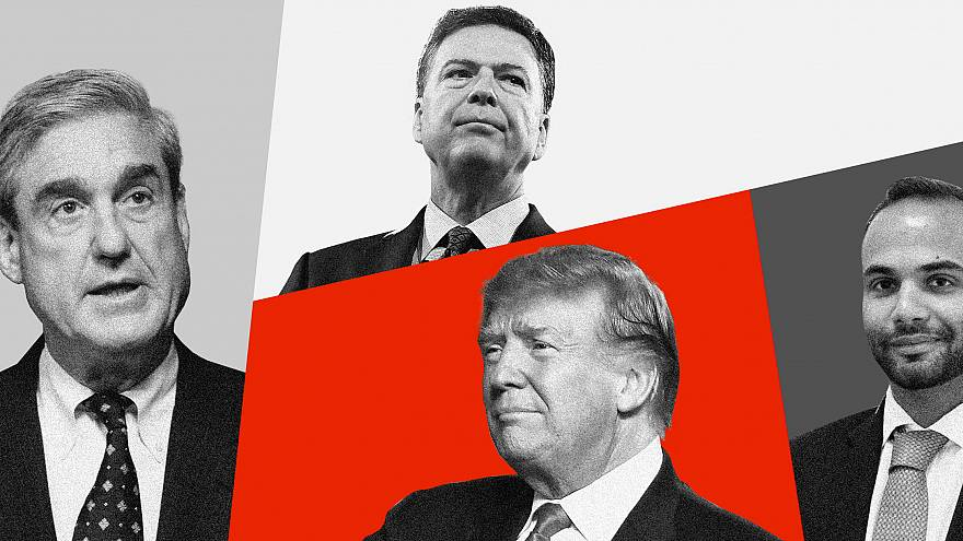 Photo illustration of Robert Mueller, James Comey, Donald Trump, and George