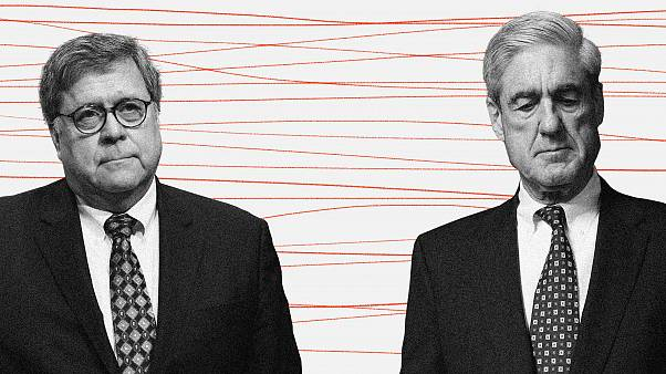 Photo illustration of William Barr and Robert Mueller.
