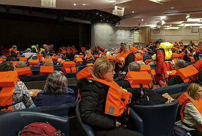 Passengers on board the Viking Sky waiting to be evacuated off the coast of Norway on Saturday.