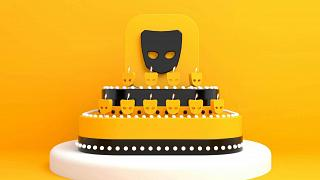 Illustration of a cake with Grindr logo candles burning.