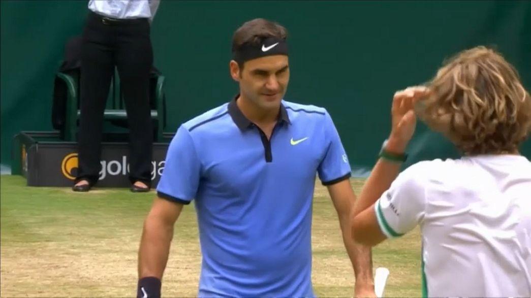 Roger Federer dans son jardin