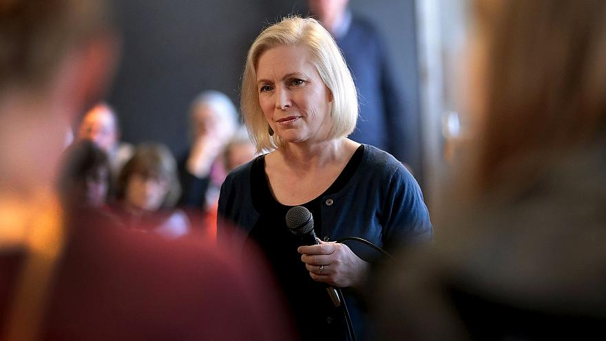 Image: Sen. Kirsten Gillibrand, D-NY, speaks to guests during a campaign st