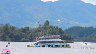 Panic on board a sinking ferry in Colombia