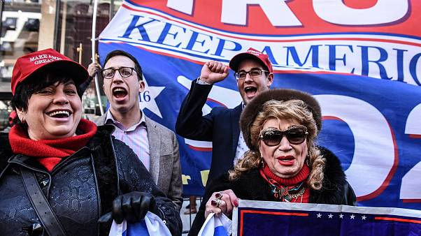 Image: Supporters at a rally for President Donald Trump near Trump Tower in