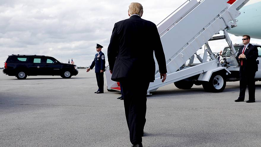 Image: President Donald Trump walks to Air Force One while departing West P