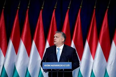 Hungarian Prime Minister Viktor Orban delivers his annual state of the nation speech in Budapest in February.