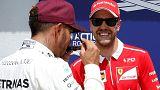 Hamilton reta a Vettel fuera de la pista