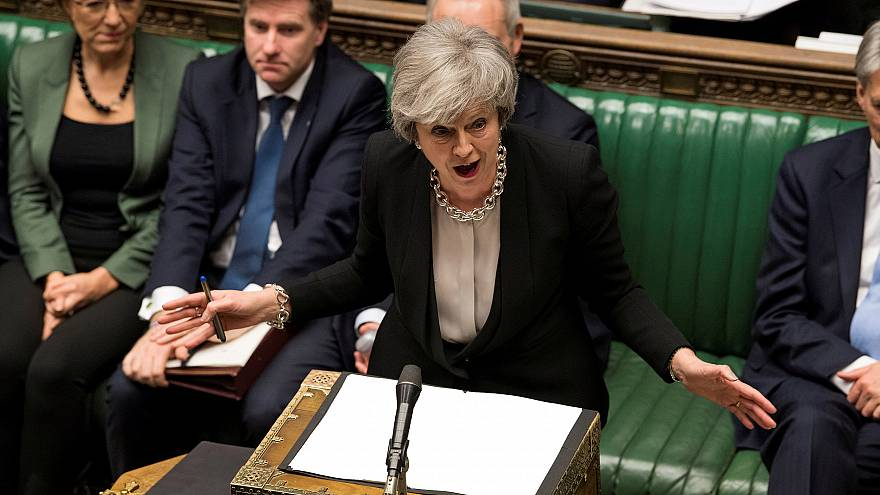 Image: Britain's Prime Minister Theresa May speaks during a debate on her B