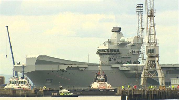 """البحرية الملكية البريطانية تطلق أكبر وأقوى سفنها الحربية """"الملكة إليزابيث"""""""
