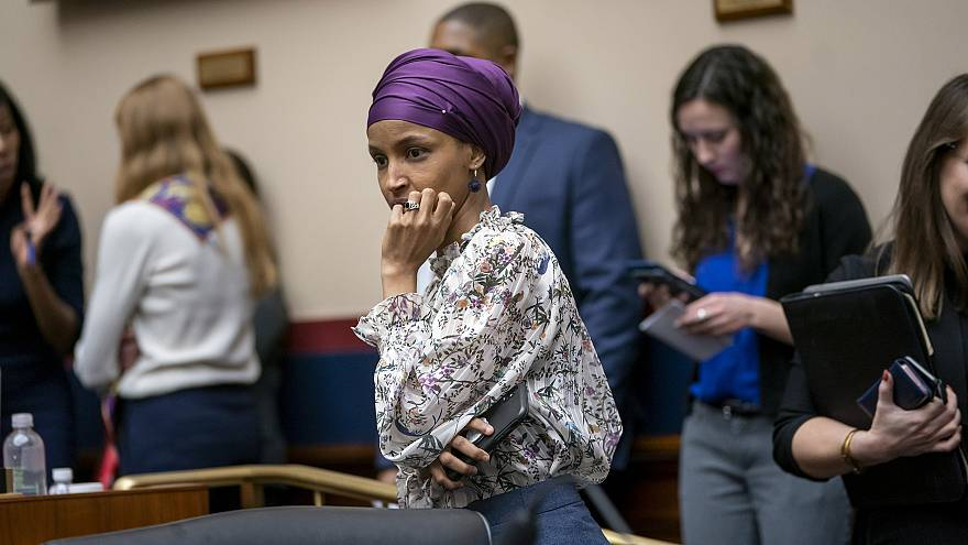 Image: Rep. Ilhan Omar, D-Minn., arrives at the House Education and Labor C