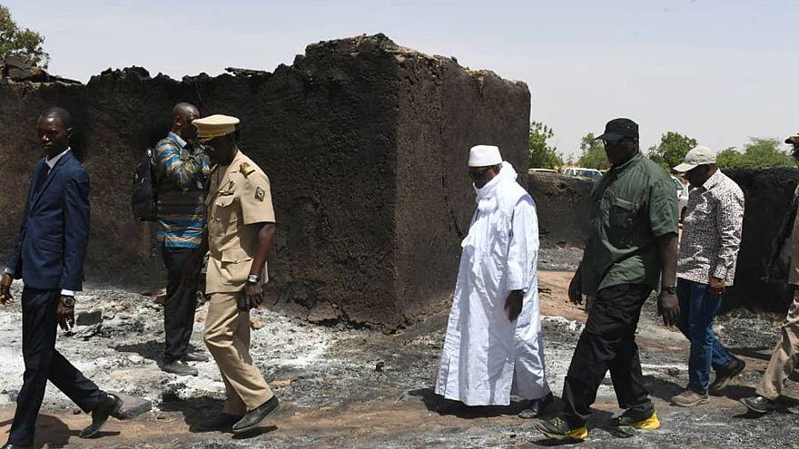 Image: Mali's President Ibrahim Boubacar Keita inspects the site of an atta