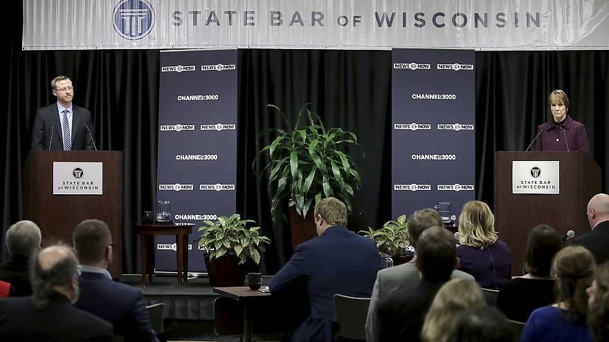 Image: Wisconsin Supreme Court candidates Brian Hagedorn and Lisa Neubauer