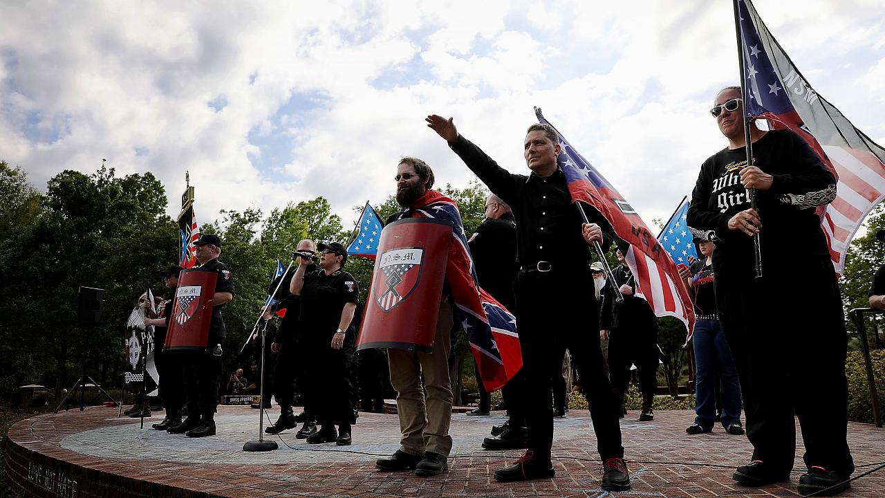 Image: Members of the National Socialist Movement hold a rally in Newnan, G