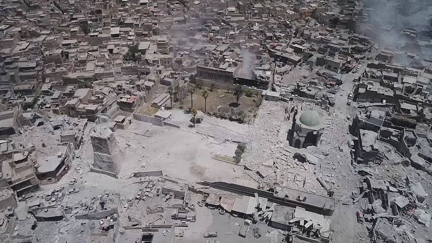 Drone footage shows ruins of Mosul mosque