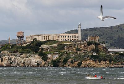 Alcatraz Federal Penitentiary was built on top of a 19th-century coastal fortification on Alcatraz Island in the San Francisco Bay.