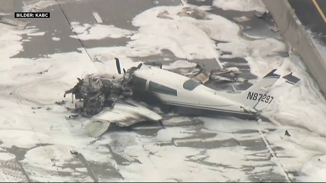 Small plane crashes on busy California motorway