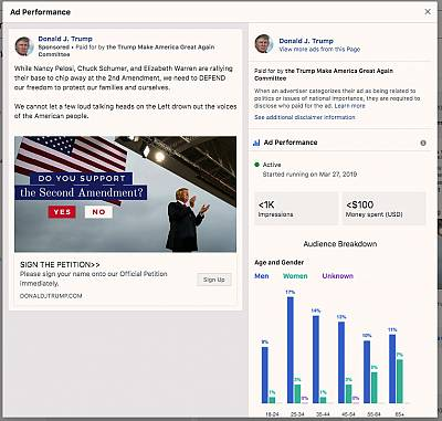 A screenshot from Facebook\'s political ad archive showing one of the Trump campaign\'s ads and data about the ad buy.