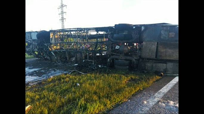 Deadly bus and truck crash kills 14 in Russia