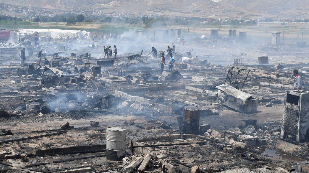 Incendie dans un camp de réfugiés