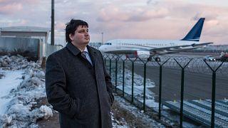 Image: Oleksiy Luponosov, 39, at Zhuliany Internationl Airport in Kiev, Ukr