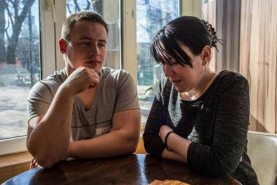 Vasyl Filip, 23, and wife Kateryna have both found work in the Czech Republic.
