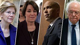 Image: Elizabeth Warren, Amy Klobuchar, Cory Booker and Bernie Sanders