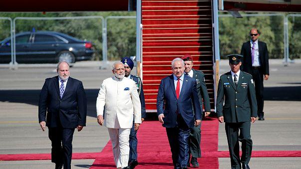 رئيس الحكومة الهندية نيريندا مودي في زيارة تاريخية إلى إسرائيل
